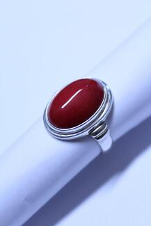 Red Coral in a Handmade Sterling Silver Ring