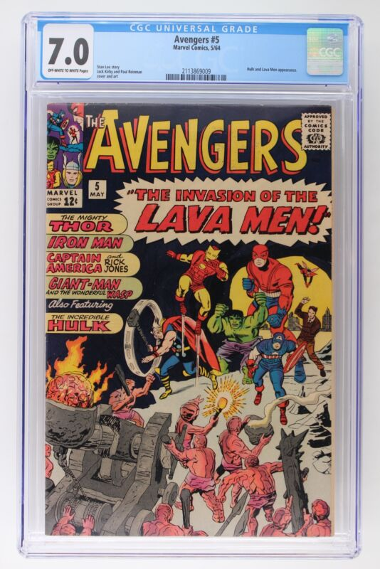 Avengers #5 - Marvel 1964 CGC 7.0 Hulk and Lava Men Appearance.