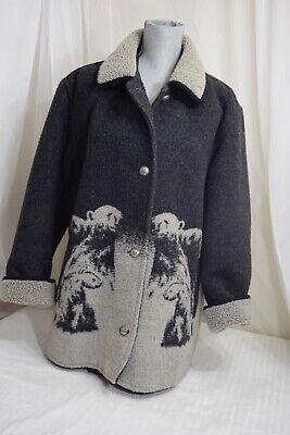 Women's Heavy Wool Blend Polar Bear Coat Jacket by Gallery Faux Fur Trim Size M Wool Women Jacket