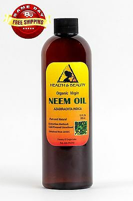 NEEM OIL ORGANIC UNREFINED CONCENTRATE VIRGIN COLD PRESSED RAW PURE 12 OZ