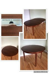 Designer Mid Century Modern Teak Dining Table - Can Seat up to 8