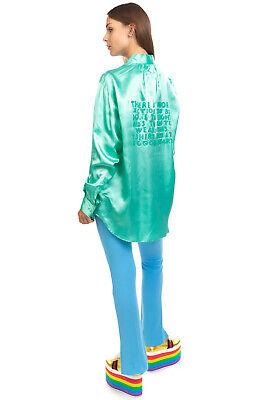 RRP €785 MM6 MAISON MARGIELA Satin Shirt Blouse Size 40 / S Coated Inscriptions
