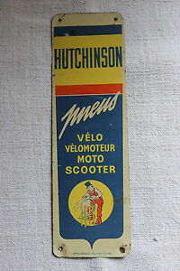 hutchinson ancienne tole publicitaire d 39 utilit plaque maill e pneu v lo moto ebay. Black Bedroom Furniture Sets. Home Design Ideas