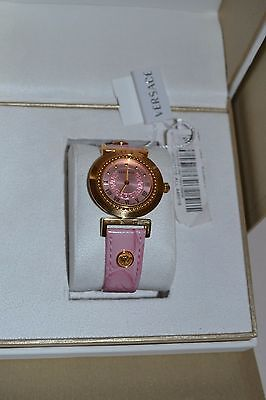 VERSACE  P5Q80D111 S111 VANITY EMBOSSED LEATHER STRAP PINK WATCH RETAIL $1095