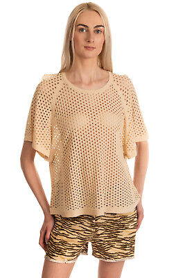 RRP €125 INTROPIA Knitted Top Size XL Beige Openwork Short Sleeve Scoop Neck