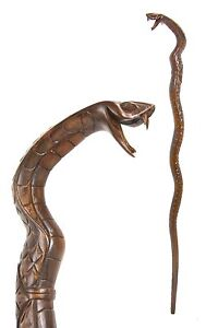 SNAKE wooden walking stick / cane - COBRA hand carved from hardwood - BOXED item