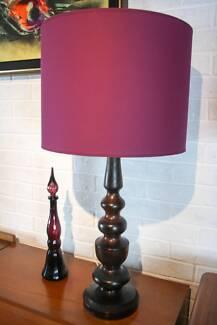 MID CENTURY Table Lamp Solid Mulga Wood Timber Retro Vintage