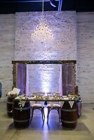 Beautiful wedding arches and wine barrels for rent