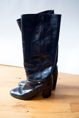Vintage GUCCI Black Leather Knee High Riding Boots with Horsebit 38.5