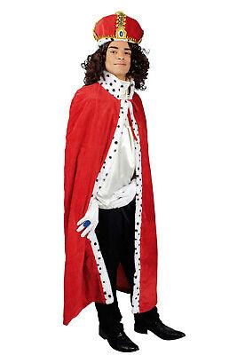 Königskostüm Königsumhang + Krone König rot Karneval Königsmantel Kostüm