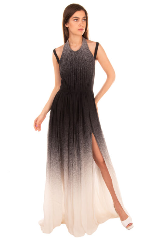 RRP€4575 ELIE SAAB Silk Pleated Gown Size 40 S Ombre & Splatter Effect High Slit