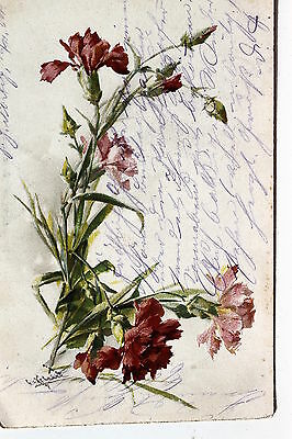 Nelke Blatt (18347 KünstlerAK Catharina Klein Nelkenstrauß Blattgrün Stiele Knospen um 1904)