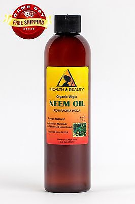 NEEM OIL UNREFINED ORGANIC CARRIER COLD PRESSED VIRGIN RAW PURE 8 OZ