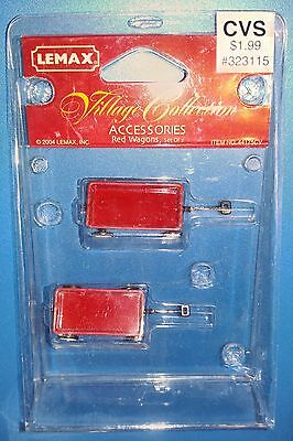 Lemax Village Collection Accessories RED WAGONS (SET OF 2) 2003 44175