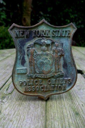 Antique brass plaque New York State Police Chiefs Association Original Unique