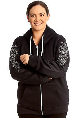 New Womens Plus Size Hoodie Ladies Angel Wings Rhinestone Studs Jacket Warm Sale