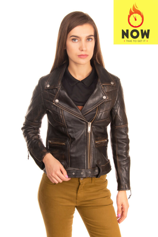 RRP€1310 GOLDEN GOOSE DELUXE BRAND Burnished Leather Biker Jacket Size S Quilted