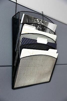 Blu Monaco Black Wire Mesh 5 Tier Hanging Cubicle Wall Or Door File Organizer