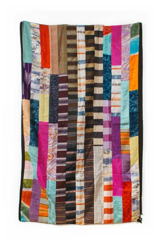 Yosegire silk futon - colorful antique Japanese Meiji era patchwork textile