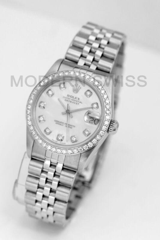 Rolex Ladies Midsize Datejust Steel Mop Diamond Dial & Bezel Jubilee Quickset
