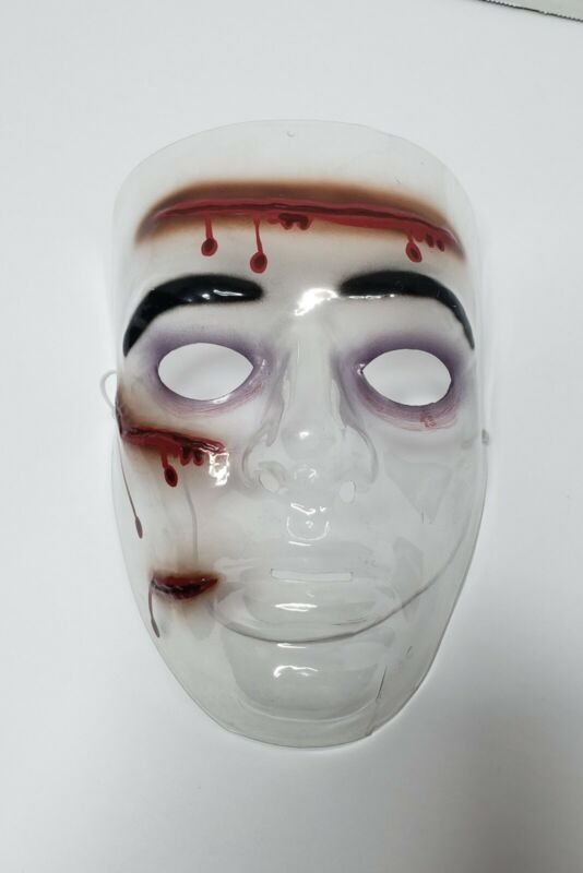 Vintage Halloween Cosplay Transparent Face Mask Gashes Wound Slash Molded Clear