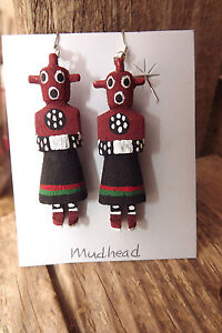 Indian Native American Hand Carved Mudhead Kachina Dangle Earrings Pretty