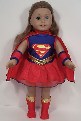SUPERMAN Super Hero Costume w/SOCK-Boots Doll Clothes For 18 American Girl - Girl Superman Costume