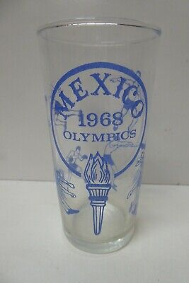 VINTAGE 1968 MEXICO OLYMPIC GAMES SOUVENIR GLASS TUMBLER ADVERTISING CUP