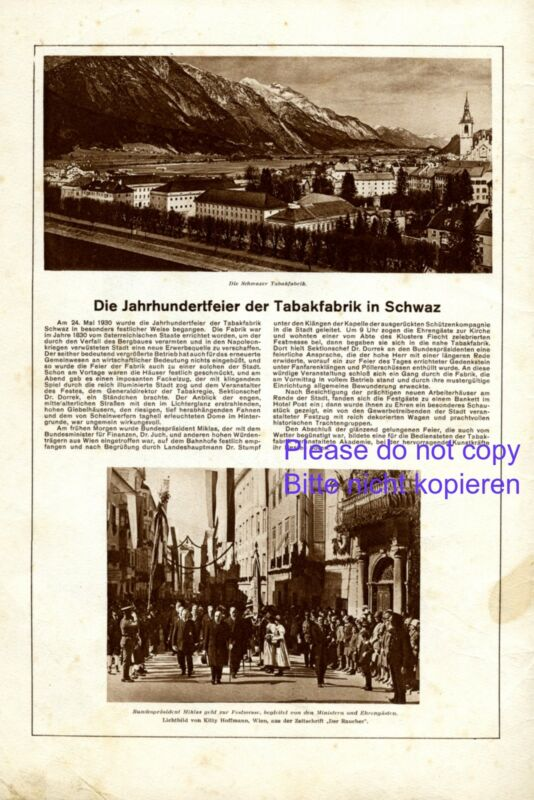 Tobacco factory Schwaz Austria XL 1930 ad advertising President Miklas