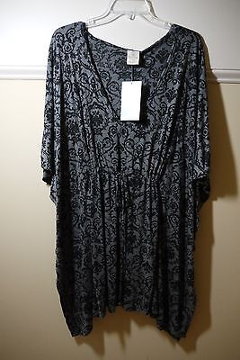 NWT Balance Collection Swimsuit Cover-up Caftan Burnout Black M