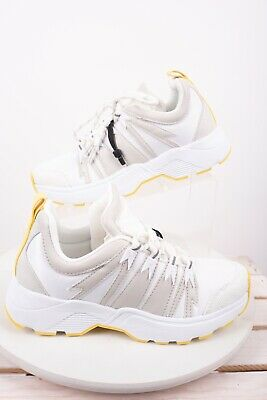 Zara Womens Athletic Platform Sneakers Sz 6 Eu 36 Shoe White Yellow 3400/301 NWT