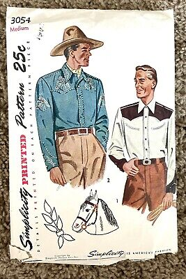 1940s Men's Shirts, Sweaters, Vests VTG 1940s Mens Western Cowboy SIMPLICITY Sewing Pattern 3054 Rockabilly MED  $12.00 AT vintagedancer.com