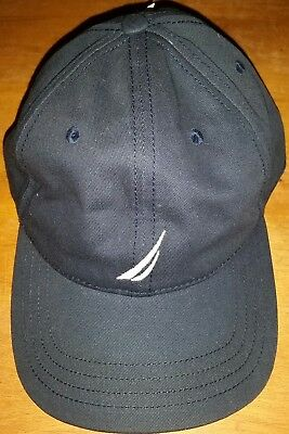 07236091645 NWT MSRP  25 Nautica Brand Navy Blue Cotton Hat Cap Adjustable Back Adult