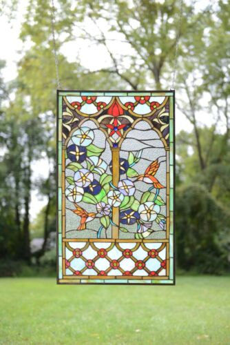 "20"" x 34"" Handcrafted Handcrafted stained glass window panel Hummingbird Garden"