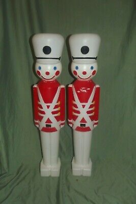 "2 Vintage Toy Soldiers Nutcrackers Blow Molds 30"" Tall Christmas White Hats"