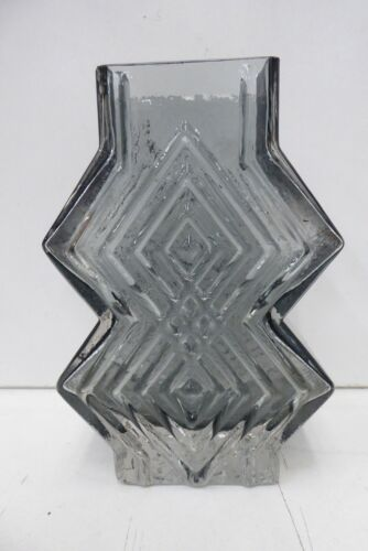 VINTAGE WHITEFRIARS SMOKEY GLASS GEOFFERY BAXTER DOUBLE DIAMOND VASE