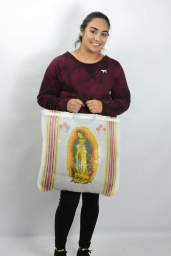 Virgin of Guadalupe Mexican Mesh Market Tote White Reusable Grocery Bag Kitchen