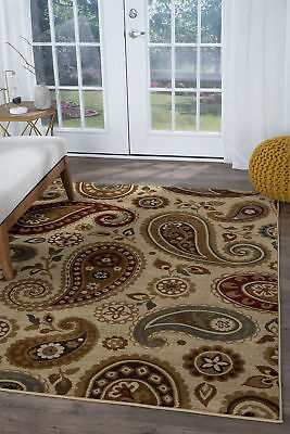 Beige Paisley Transitional Area Rug Leaves 8x10 Carpet: Actual 7