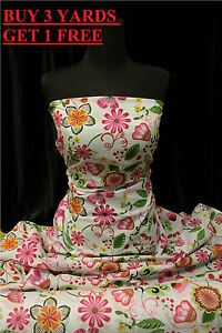 Floral-Flowers-Green-Pink-Flower-Cotton-print-dress-making-craft-fabric-material