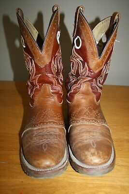 Mens Double H Cowboy Boots Pull On Round Toe Sz 11D