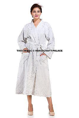 Alta Calidad Tresillo Mandala Estampado Blanco Largo Vestido Novia Kimono Noche