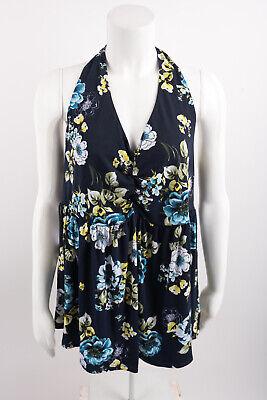 Torrid Womens Knit Halter Top Shirt Sz 2 2X 18-20 Floral Sleeveless Navy Blue -