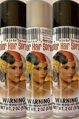 3 Cans CVS Halloween Witch Hair Spray Color BRIGHT 2 Black 1 Silver/Grey