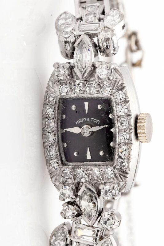 Vintage $10,000 Hamilton Platinum 4ct Vs G Diamond Black Dial Ladies Watch Wty
