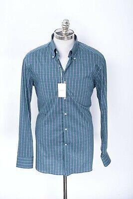 $520 NWT ALESSANDRO GHERARDI Green Blue Tartan Cotton Button Down Collar Shirt L