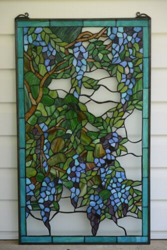 "20"" x 34"" Large Tiffany stained Style glass window panel wisteria flowers"
