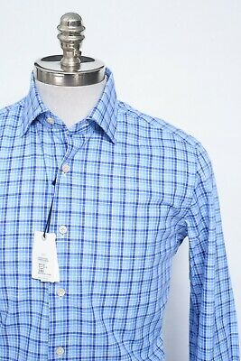NWT Men's Alessandro Gherardi Blue Plaid Checks Cotton Dress Shirt 15 3/4 40