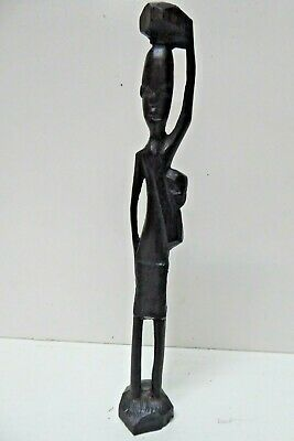 HAND CARVED AFRICAN EBONY TIMBER STATUE OF A MAN FIGURINE