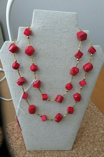 """CORAL Red w/Gold Accent Beads Original Design Long Necklace, 36"""", 91 cm. New."""