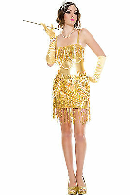 Sexy Adult Halloween Music Legs Dazzling Babe Gold Flapper Girl Costume